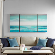 Teal Tides Gel Coat Canvas - 3 part Wall Decor room image