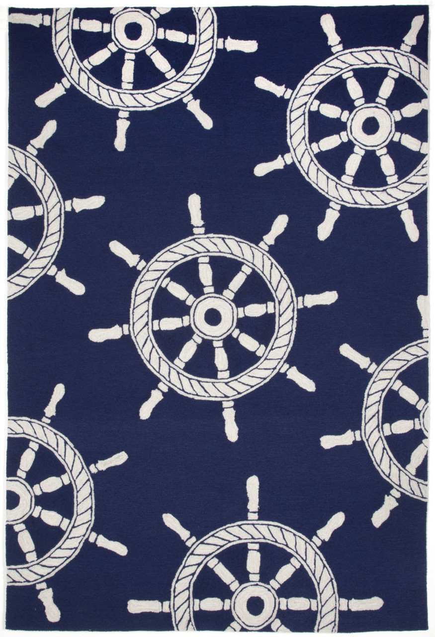 Nautical Ships Wheel Area Rug Navy Blue