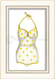 Classic Swimsuit with Yellow Polka Dots Framed Art