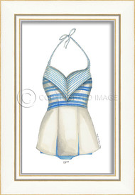 Classic Swimsuit with Blue and White Stripes Framed Art