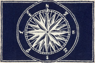 Compass Rose Navy Blue and White Area Rug