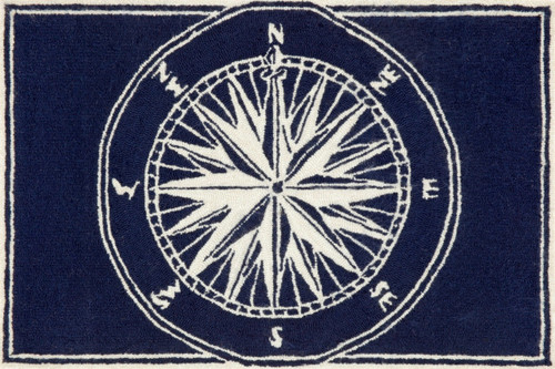 Lovely Compass Rose Navy Blue And White Area Rug