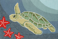 Swimming Sea Turtle Area Rug