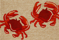 Two Red Crabs Area Rug