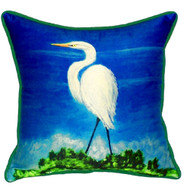 Great White Egret Beach House Pillow