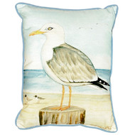 Seagull on Pier Beach Cottage Pillow
