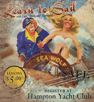 Learn To Sail Beach Art Sign