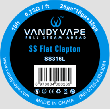 Vandy Vape SS316 FlatClapton 26ga*18ga+32ga 10ft