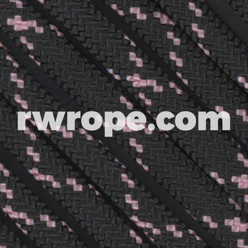 Paracord 550 in Black With Rose Pink X
