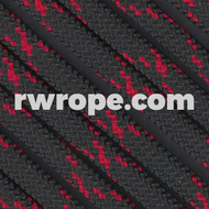 Paracord 550 in Black With Imperial Red X