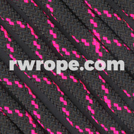 Paracord 550 in Black With Neon Pink X