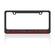 C7 Corvette Black License Frame (red letters)