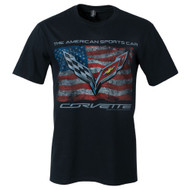 C7 Corvette Distressed American Flag T-Shirt