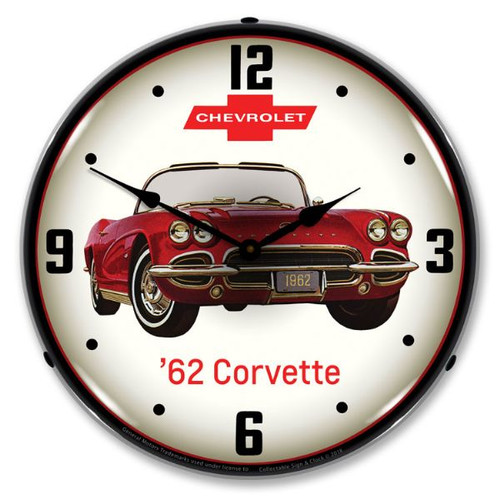 C1 1962 Red Corvette Backlit Clock