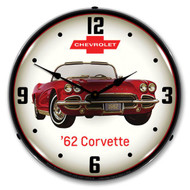C1 1962 Red Corvette Backlit Clock