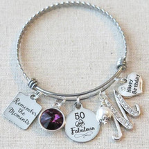 50th Birthday Gift - Remember the Moments Birthday Bangle