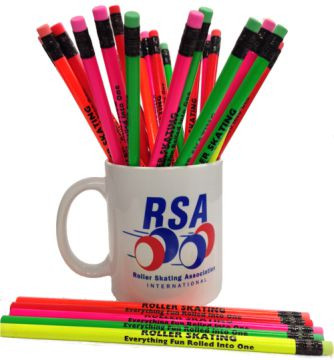 """These pencils each say """"Everything Fun Rolled Into One"""" and come in fluorescent colors. Each box contains 142 pencils and are great for school trips, trade shows, or just getting the word out about roller skating."""