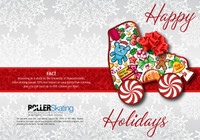 """These holiday cards are perfect for printing up your own message on the inside.  Cover is a roller skate filled with holiday icons and the messages Happy New Year and Merry Christmas.  Back of card includes a roller skating fact.  Inside is blank.  Holiday card template for printing purposes is available upon request.  Size: 5"""" x 7"""".  Pack of 50 with envelopes."""