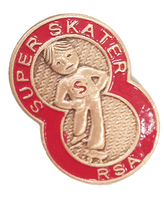 Super Skater Pin Level 1 (#SS01) Super Skater pins are used to reward skaters who participate in the Super Skater Program created and provided by the RSA.  Skaters who meet the tested requirements for level 1 are awarded the RED Super Skater pin.  All program details and forms required to build your Learn to Skate program in your rink can be found at www.rollerskating.com>> Achievement >> Super Skater Program.   Purchase your pins in advance throughout the year - and don't forget to participate in the annual Super Skater Contest!  Pins will be shipped USPS and no shipping and handling fees apply.