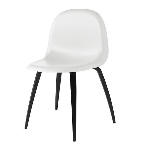 GUBI 5 DINING CHAIR - WHITE WITH BLACK LEGS