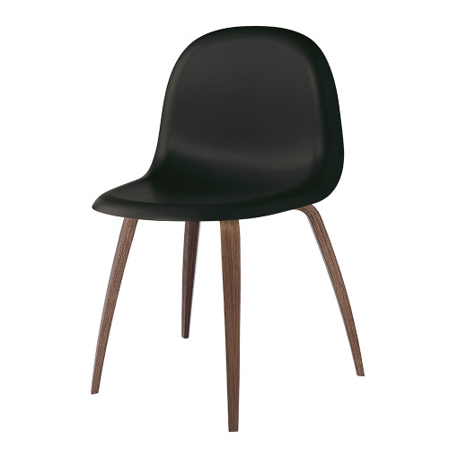 GUBI 5 DINING CHAIR - BLACK WITH WALNUT LEGS