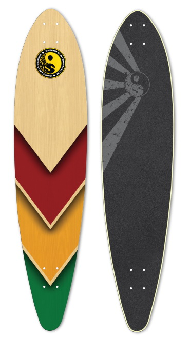 Shiver RASTA ARROW  Pintail with 70mm Red Shark Wheels (Yellow Not Available)
