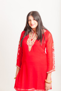 Red kurti (tunic) with embroidered sleeves