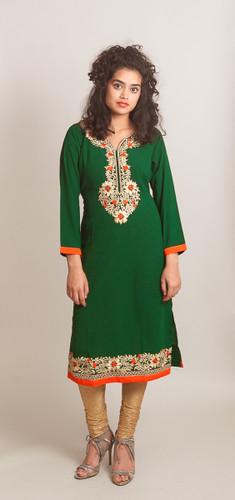 Green Kurti (Tunic) with thread embroidery