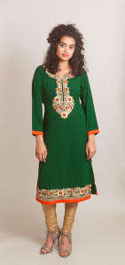 Green Kurti (Tunic) with thread embroidery