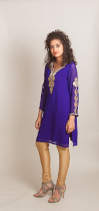Royal Blue kurti (Tunic) with embroidered sleeves