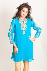 Light Blue Kurti/Tunics with embroidered sleeves