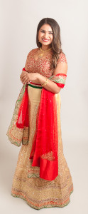 Red and gold lehenga set