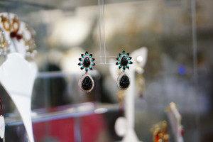 Black stone earring