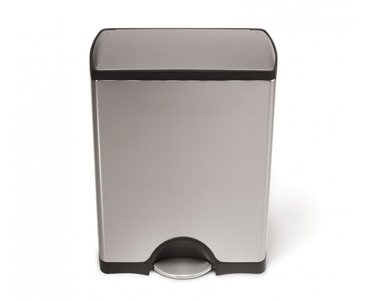 simplehuman 50 litre stainless steel rectangular kitchen bin. Black Bedroom Furniture Sets. Home Design Ideas