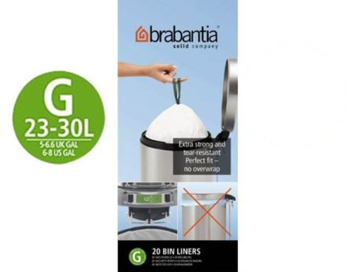 Brabantia Size G SmartFix Perfect Fit Bin Liners 23 to 30 Litre 20 Bags Roll