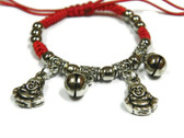 Metal Buddha  Red Cord Bracelet
