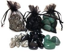 Pyrite, Green Jade, Black Obsidian