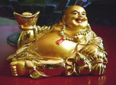 Abundance and Fulfillment symbol . Gold Laughing Buddha