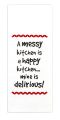 "Brownlow ""A Messy Kitchen is a Happy Kitchen...Mine is Delirious"" Dish Towel"