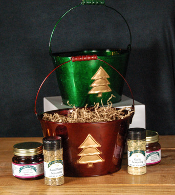Cherchies Classic Holiday Gift Bucket in Burgundy