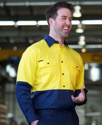 Hi Vis Lightweight Cotton Drill Shirt with Mesh underarm