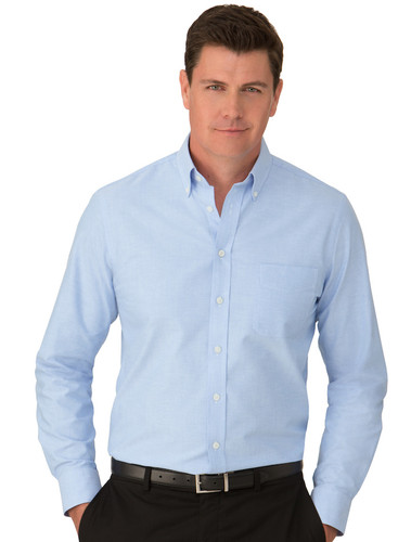 Mens Blue Cotton Oxford Shirt