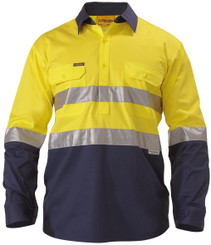 Bisley 2 Tone Hi Vis Cool Lightweight Closed Front L/S Shirt 3M Reflective Tape