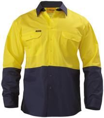 Bisley 2 Tone Hi Vis Cool L/S Lightweight Gusset Cuff Shirt