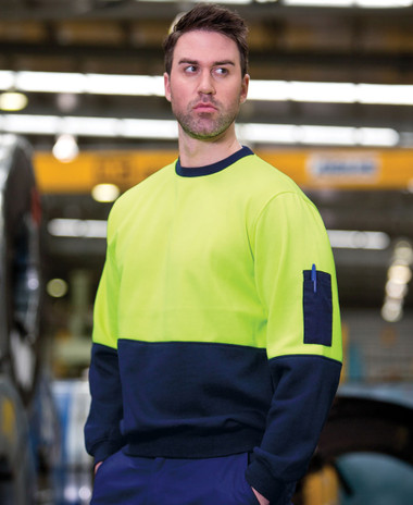 Fleecy Hi Vis Crew Neck Windcheater
