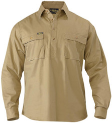 Bisley Closed Front L/S Cotton Mens Drill Shirt