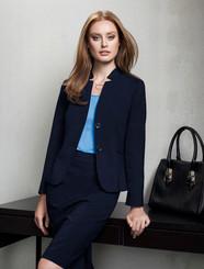 Short Wool Blend Jacket with Reverse Lapel