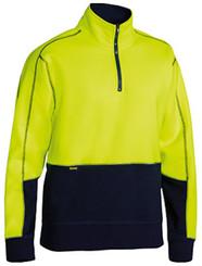 Bisley Yellow/Navy Hi Vis Fleece Pullover