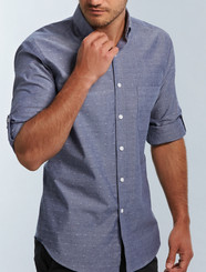 Gloweave Mens Spot Dobby Denim Shirt