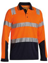Hi Vis 3M Taped Micromesh Long Sleeve Polo Shirt